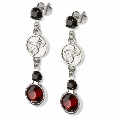 Miami Heat Crystal Logo Dangle Earrings