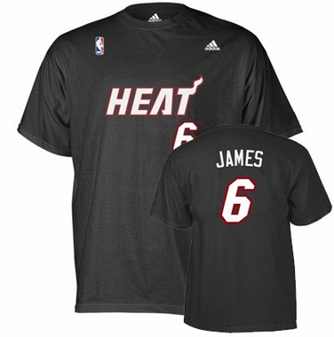 Miami Heat Lebron James Player Name and Number T-Shirt (Black)