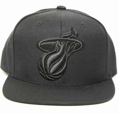 Miami Heat Mitchell & Ness Solid Black Tonal Logo Snap back Hat