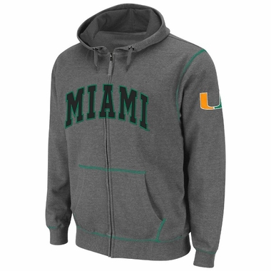 Miami Heathered Charcoal Blackout Full Zip Hooded Sweatshirt