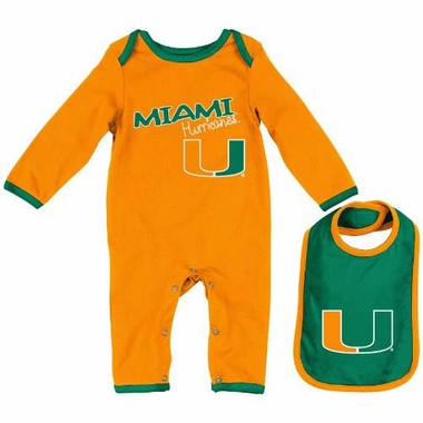 "Miami Hurricanes Infant ""Tuck"" Romper & Bib Set"