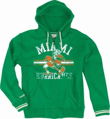 Miami Hurricanes Mitchell & Ness 2013 Vintage Full Zip Premium Hooded Sweatshirt - Green