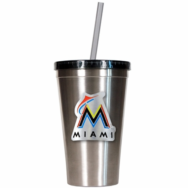 Miami Marlins 16oz Stainless Steel Insulated Tumbler with Straw