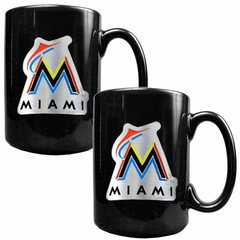 Miami Marlins 2 Piece Coffee Mug Set