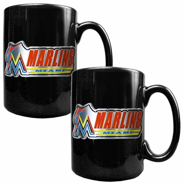 Miami Marlins 2 Piece Coffee Mug Set (Wordmark)