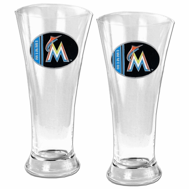 Miami Marlins 2 Piece Pilsner Glass Set