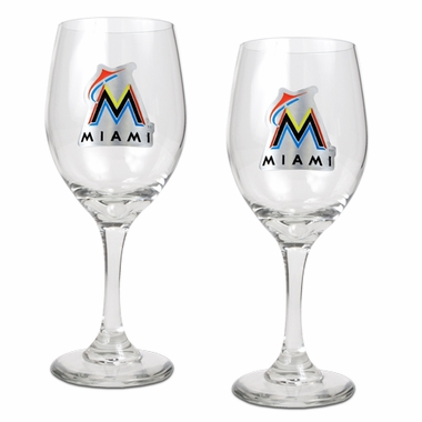 Miami Marlins 2 Piece Wine Glass Set