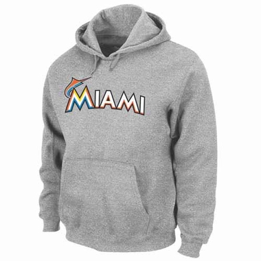 Miami Marlins .300 Hitter Hooded Sweatshirt - Grey
