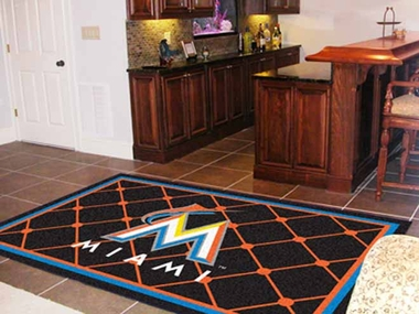 Miami Marlins 5 Foot x 8 Foot Rug