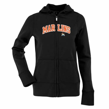 Miami Marlins Applique Womens Zip Front Hoody Sweatshirt (Color: Black)