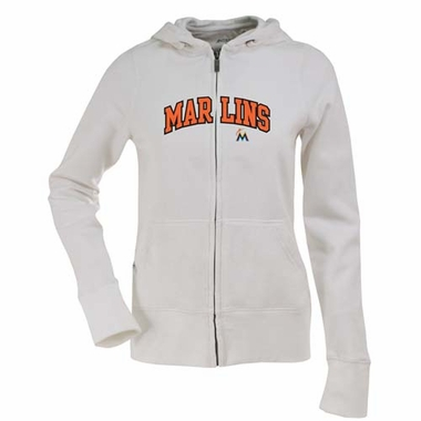 Miami Marlins Applique Womens Zip Front Hoody Sweatshirt (Color: White)