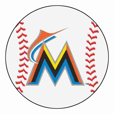 Miami Marlins Baseball Shaped Rug