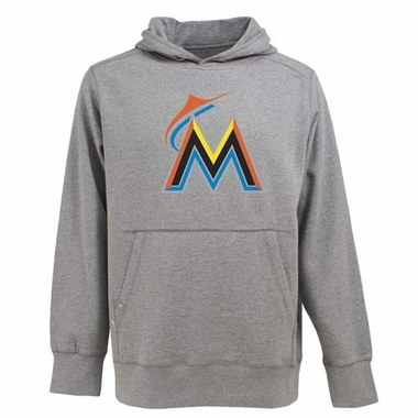 Miami Marlins Big Logo Mens Signature Hooded Sweatshirt (Color: Gray)