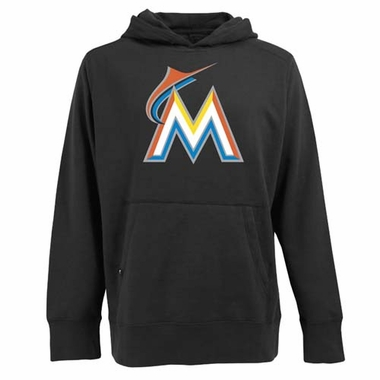 Miami Marlins Big Logo Mens Signature Hooded Sweatshirt (Team Color: Black)