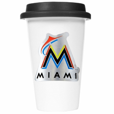 Miami Marlins Ceramic Travel Cup (Black Lid)
