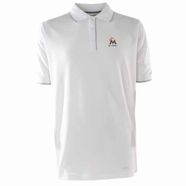 Miami Marlins Mens Elite Polo Shirt (Color: White)