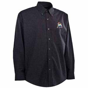 Miami Marlins Mens Esteem Check Pattern Button Down Dress Shirt (Team Color: Black) - Small