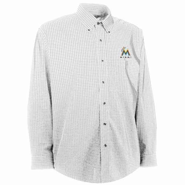 Miami Marlins Mens Esteem Check Pattern Button Down Dress Shirt (Color: White)