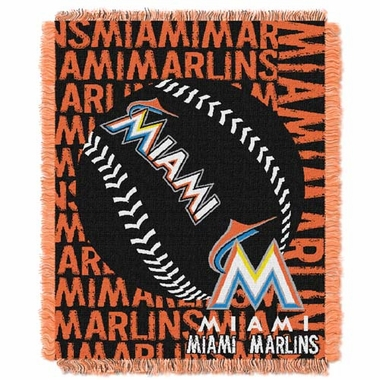 Miami Marlins Jacquard Woven Throw Blanket
