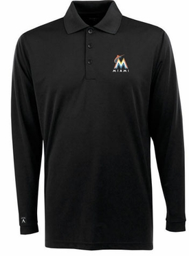 Miami Marlins Mens Long Sleeve Polo Shirt (Team Color: Black)