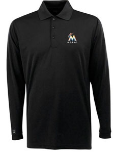 Miami Marlins Mens Long Sleeve Polo Shirt (Color: Black) - Medium