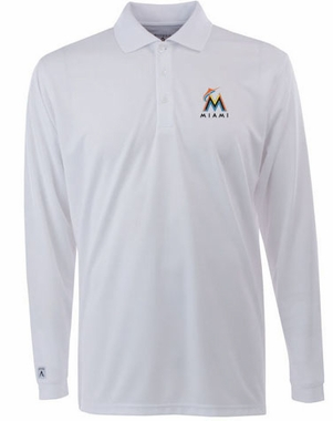 Miami Marlins Mens Long Sleeve Polo Shirt (Color: White)