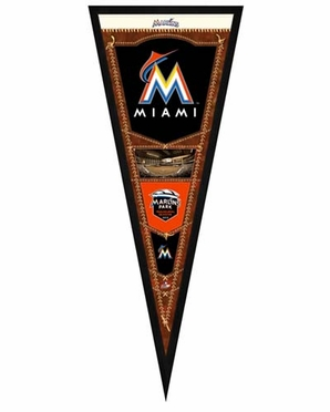 "Miami Marlins Pennant Frame - 13""x33"" (No Glass)"