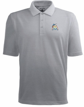 Miami Marlins Mens Pique Xtra Lite Polo Shirt (Color: Gray)