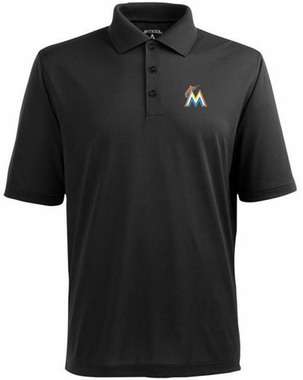 Miami Marlins Mens Pique Xtra Lite Polo Shirt (Color: Black)