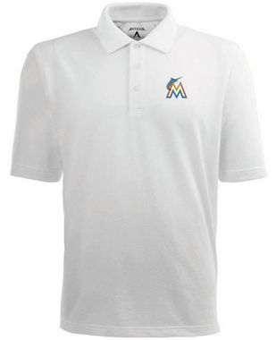 Miami Marlins Mens Pique Xtra Lite Polo Shirt (Color: White)