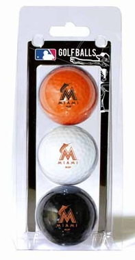 Miami Marlins Set of 3 Multicolor Golf Balls