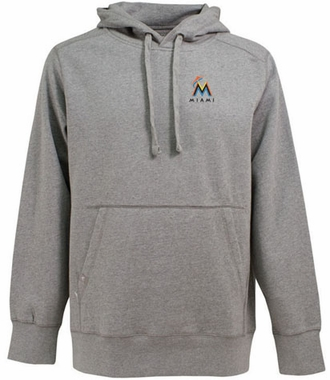Miami Marlins Mens Signature Hooded Sweatshirt (Color: Gray)