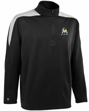Miami Marlins Mens Succeed 1/4 Zip Performance Pullover (Team Color: Black)