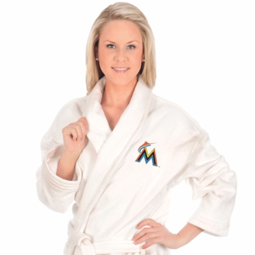 Miami Marlins UNISEX Bath Robe (White)
