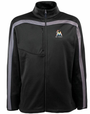 Miami Marlins Mens Viper Full Zip Performance Jacket (Team Color: Black)