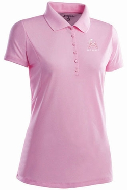 Miami Marlins Womens Pique Xtra Lite Polo Shirt (Color: Pink)