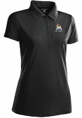 Miami Marlins Womens Pique Xtra Lite Polo Shirt (Color: Black)