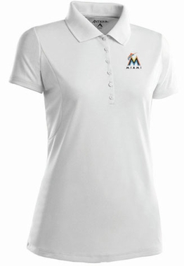 Miami Marlins Womens Pique Xtra Lite Polo Shirt (Color: White)