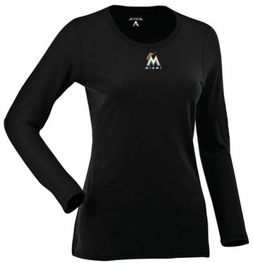 Miami Marlins Womens Relax Long Sleeve Tee (Team Color: Black)