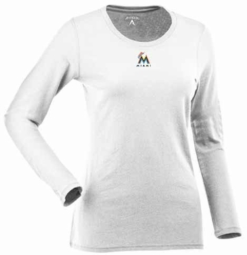 Miami Marlins Womens Relax Long Sleeve Tee (Color: White)