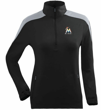 Miami Marlins Womens Succeed 1/4 Zip Performance Pullover (Team Color: Black)