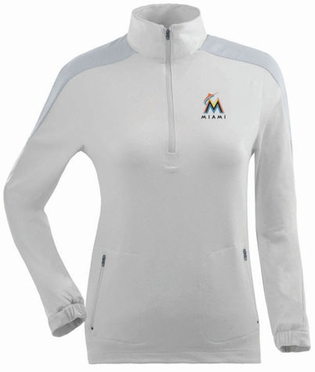 Miami Marlins Womens Succeed 1/4 Zip Performance Pullover (Color: White)