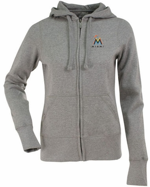 Miami Marlins Womens Zip Front Hoody Sweatshirt (Color: Gray)