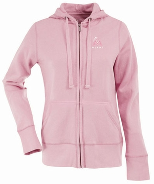 Miami Marlins Womens Zip Front Hoody Sweatshirt (Color: Pink)