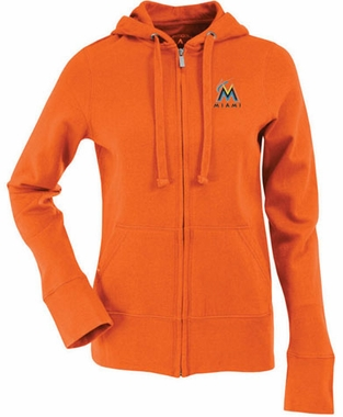 Miami Marlins Womens Zip Front Hoody Sweatshirt (Team Color: Orange)