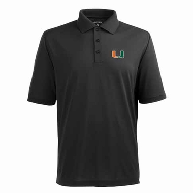 Miami Mens Pique Xtra Lite Polo Shirt (Color: Black)