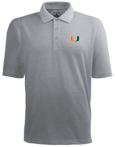 Miami Mens Pique Xtra Lite Polo Shirt (Color: Gray) - Large