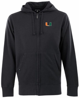 Miami Mens Signature Full Zip Hooded Sweatshirt (Color: Black)