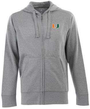 Miami Mens Signature Full Zip Hooded Sweatshirt (Color: Gray)