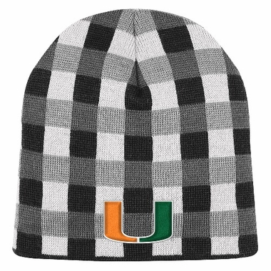 Miami Soul Plaid Cuffless Knit Beanie Hat